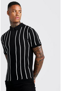 Black Slim Fit Pinstripe Knitted Polo