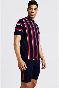 Mens Navy Striped Knitted T-Shirt & Short Set