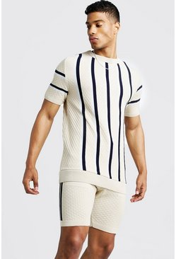 Herr Stone Striped Knitted T-Shirt & Short Set