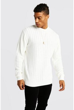 Mens Cream Ladder Stitch Crew Neck Knitted Sweater