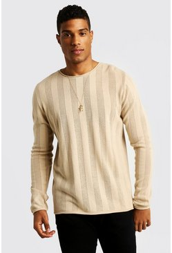Mens Ecru Crew Neck Knitted Sweater
