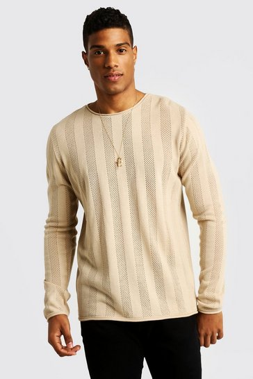 Mens Ecru Crew Neck Knitted Jumper
