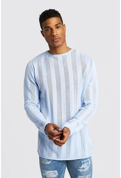 Mens Sky Crew Neck Knitted Jumper