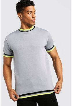 Mens Light grey High Neck Knitted T-Shirt With Tipping