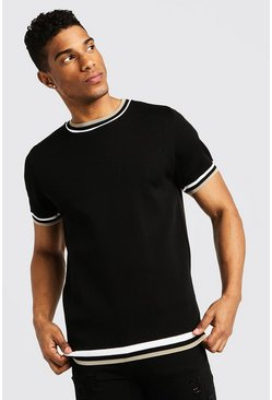 High Neck Knitted T-Shirt With Tipping, Black, HOMBRE