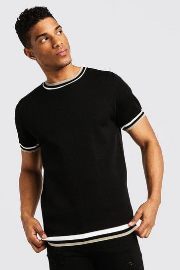Mens Black High Neck Knitted T-Shirt With Tipping