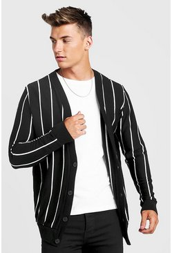 Mens Black Vertical Stripe Knitted Cardigan