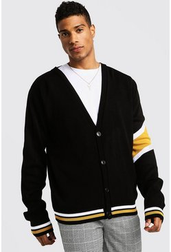 Varsity Arm Stripe Knitted Cardigan, Mustard, Uomo