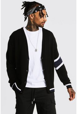 Varsity Arm Stripe Knitted Cardigan, Navy, HOMBRE