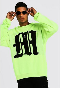 Oversized Gothic M Knitted Crew Neck Jumper, Neon-yellow, HOMBRE
