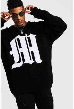 Oversized Gothic M Knitted Crew Neck Jumper, Black, HOMMES