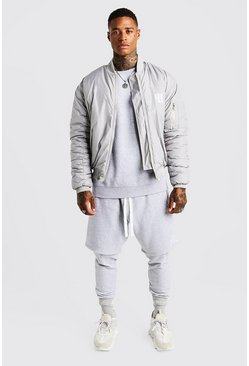 MAN Aesthetics Oversized Bomber Jacket, Grey, HOMMES