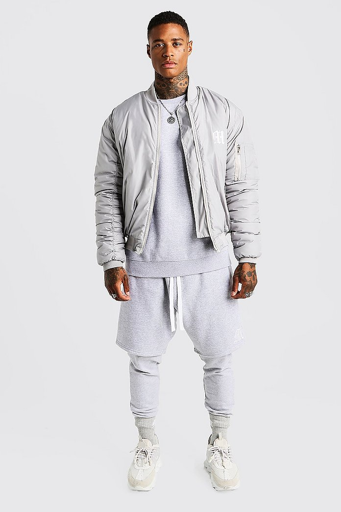 MAN Aesthetics Oversized Bomber Jacket | Boohoo UK