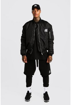 MAN Aesthetics Oversized Bomber Jacket, Black, Uomo