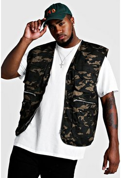 Mens Big & Tall Cotton Camo Utility Vest