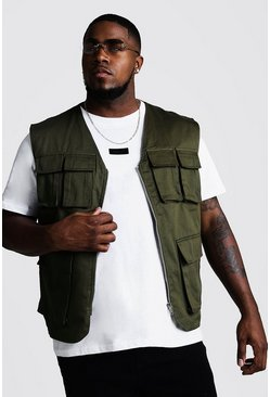 Mens Khaki Big & Tall Pocket Detail Utility Vest