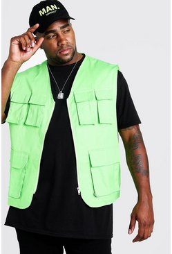 Neon-green Big & Tall Pocket Detail Utility Vest