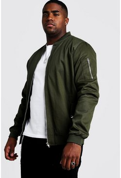 Mens Khaki Big & Tall Cotton MA1 Bomber