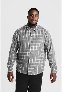 Mens Grey Big & Tall Shirt With Windowpane Check