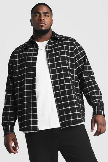 Black Big & Tall Shirt With Windowpane Check