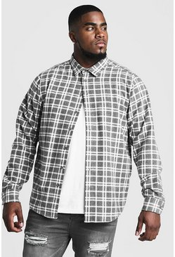 Grey Big & Tall Shirt With Classic Check