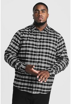 Black Big & Tall Shirt With Classic Check