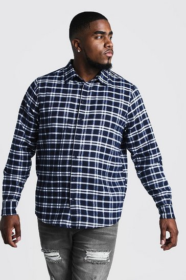 Mens Navy Big & Tall Shirt With Classic Check