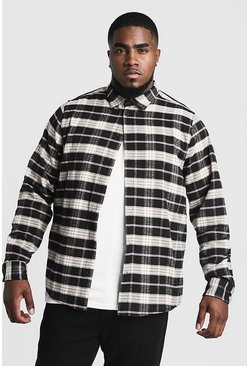Black Big & Tall Shirt With Contrast Check