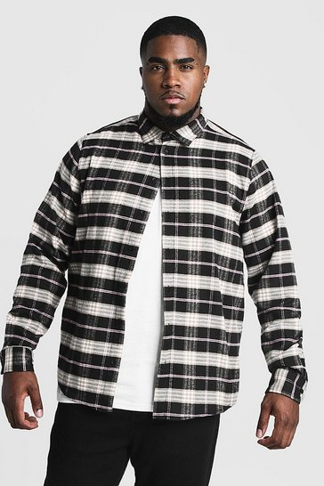 Mens Black Big & Tall Shirt With Contrast Check