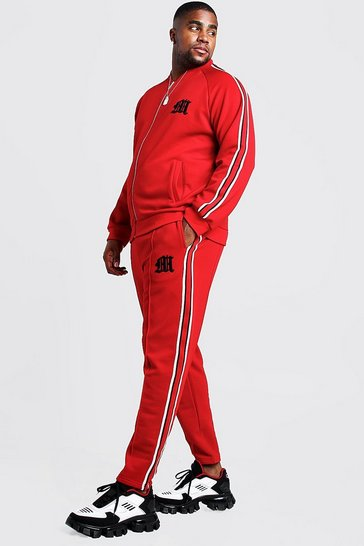 Mens Red Big & Tall MAN Tricot Tracksuit With Side Tape