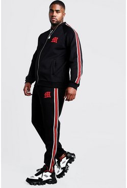 Black Big & Tall MAN Tricot Tracksuit With Side Tape