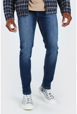 Mens Mid blue Skinny Fit Denim Jeans