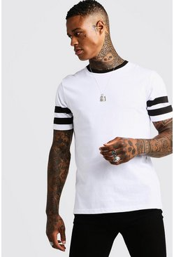 Mens White Contrast Panel Short Sleeve T-Shirt
