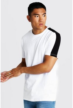 Mens White Contrast Sleeve Panel T-Shirt