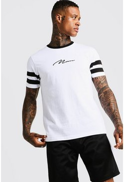 Mens White MAN Signature Contrast Panel T-Shirt