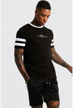 Mens Black MAN Signature Contrast Panel T-Shirt