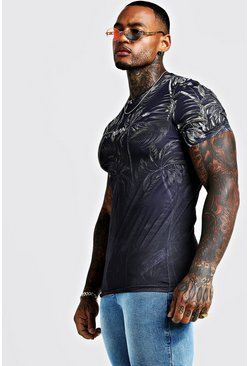 Herr Black Original MAN Muscle Fit Faded Palm T-Shirt