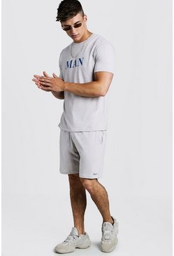 T-Shirt & Short Set With Contrast MAN Print, Taupe, HOMBRE