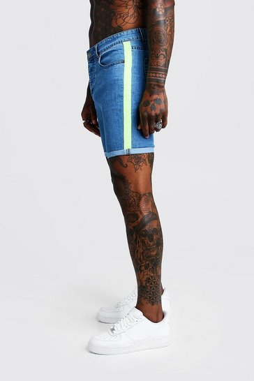 Mens Blue Skinny Fit Denim Shorts With Neon Side Tape