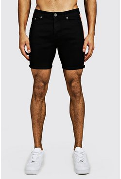 Mens Black Skinny Fit Denim Shorts With Neon Side Tape