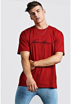 Oversized MAN Autograph Embroidered T-Shirt, Red, HOMBRE