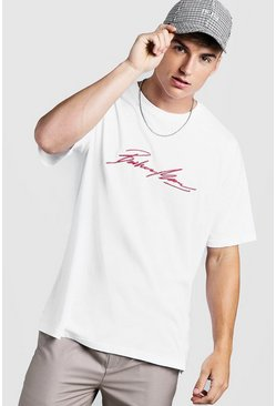 Oversized MAN Autograph Embroidered T-Shirt, White, Uomo