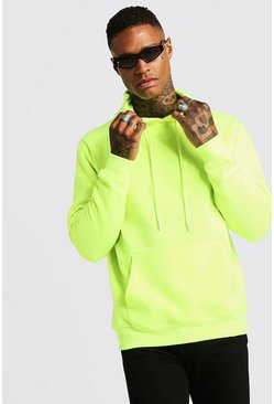 Mens Neon-yellow Neon Yellow Over The Head Hoodie