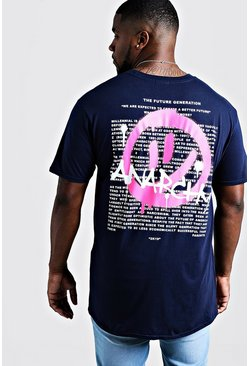 Mens Navy Big & Tall T-Shirt With Anarchy Print