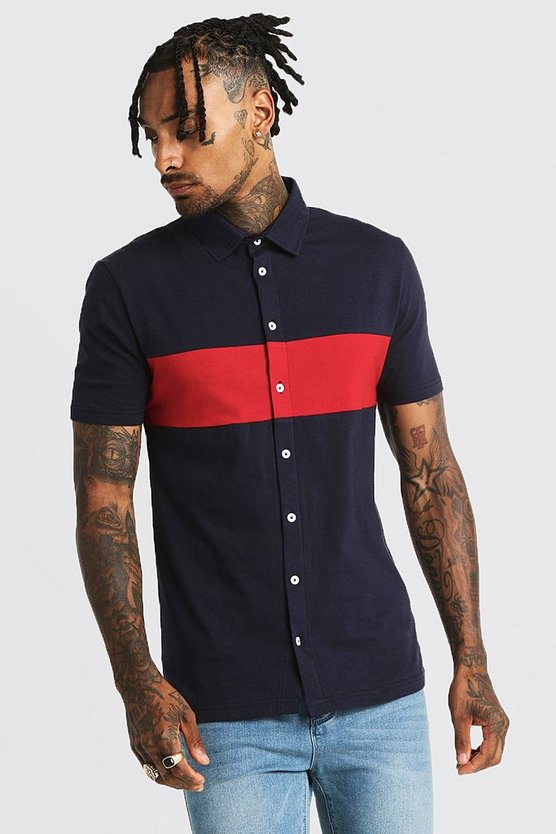 Navy Colour Block Muscle Fit Jersey Short Sleeve Shirt