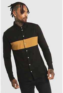 Black Colour Block Muscle Fit Jersey Long Sleeve Shirt