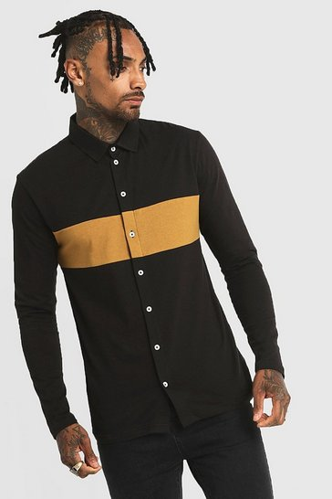 Mens Black Colour Block Muscle Fit Jersey Long Sleeve Shirt
