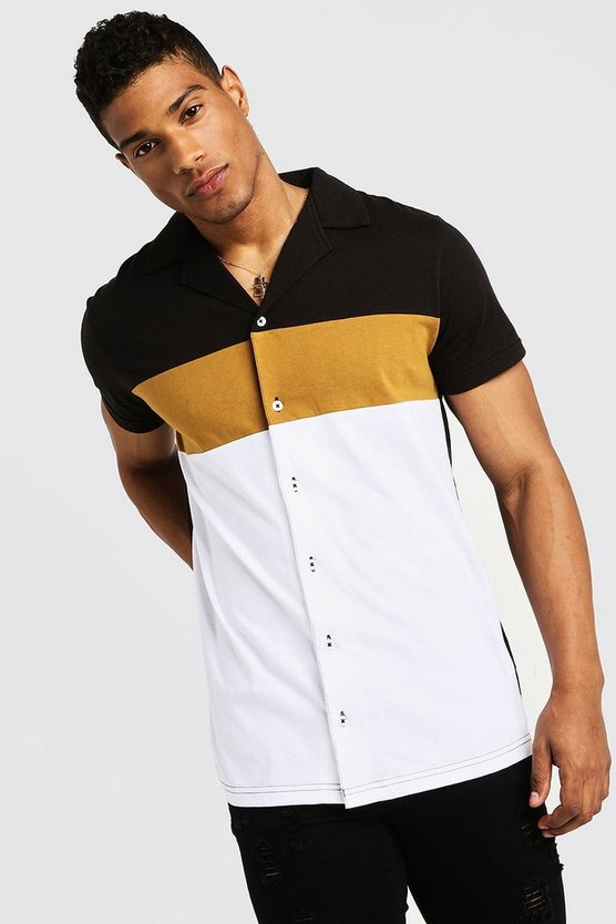 Colour Block Short Sleeve Jersey Revere Shirt by Boohoo
