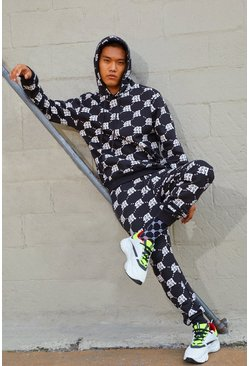Mens Black M Repeat Print Hooded Tracksuit