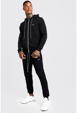 Mens White Original MAN Hooded Contrast Detail Tracksuit